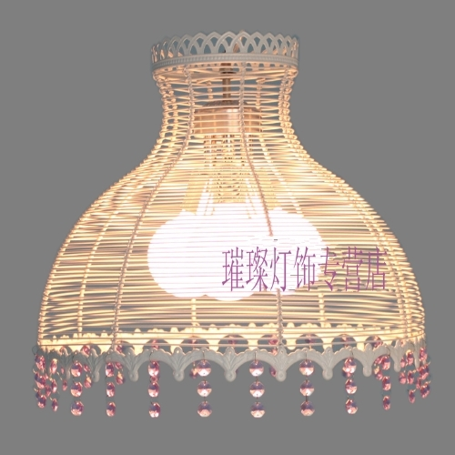 Lighting rustic wrought iron crystal lamp restaurant lamp bedroom lamp study light single head of art pendant light lamps(China (Mainland))