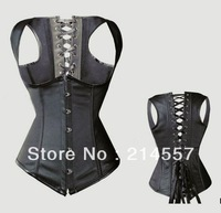 hot sale Personal Sexy Gothic Black Punk Faux Leather Boned Underbust Corset Bustier Showgirl clubwear /G-string Size S-2XL