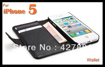 Wholesale 50pcs/lot For iphone 5 wallet leather flip case with card holder stand design 7 colors available Fast free Shipping(China (Mainland))