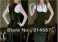 HOt Sale Black satin lace up boned basque corset busiter bodyshaper lingerie S-6XL Free shipping