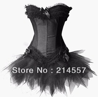 Black Sexy Satin Lingerie Corset Bustier Mini Tutu Petticoat Skirt Fancy Dress Costume