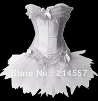 hot sale Personal 2014New White Burlesque corset busiter costume dance wear clubwear ++mini skirt+G-string S-2XL