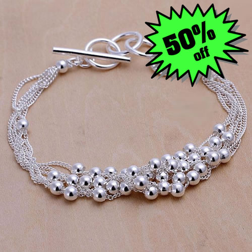 LQ-H101 Free Shipping 925 Silver Bracelet Fashion Jewelry Bracelet Six-lane light bead bracelet adja iuqa(China (Mainland))