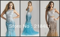 2013 Custom Design Popular Sexy Jewel Bling Bling Beads Crystal Open Back Mermaid Evening dresses VV-48