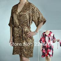 free shipping 2015 New Arrival hot sale women summer thin sleeping skirt home robe dress cute satin pajamas 2 colour