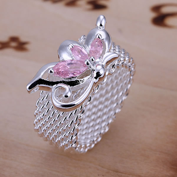R074 Half Flower Web Ring 925 silver ring,high quality ,fashion jewelry, Nickle free,antiallergic(China (Mainland))