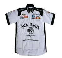 Good auto racing shirt for Jack Daniel, F1 racing brand shirt white cotton short sleeve free shipping