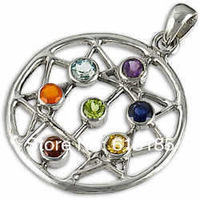 Fashion Seven Chakra Pendent C-4 Wholesale Chakra Jewllery charm Free shipping 24pc/lot