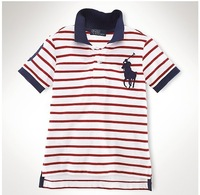 Hot-selling plus size embroidered logo stripe polo shirt male short-sleeve 100% cotton stripe male t