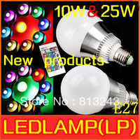Free shipping 2013 New style Low price AC 100-240V RGB LED Lamp 10W 25W E27 led Bulb Lamp with Remote Control led lighting