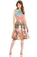 Free shipping Women's Behind Pastoral Printing Round Neck Sleeveless Dress CT3298