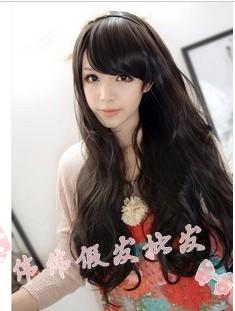 2013 free shipping Hair sweet elegant repair fluffy oblique bangs , long curly hair wig wholesale(China (Mainland))