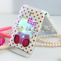 2013 new mini pocket super small children KT for Hello Kitty case girls cartoon novelty flip phone dual sim touch screen