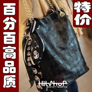 Fashion vintage d068 all-match fashion silk scarf skull bag one shoulder bag picture female bags