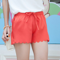 free shipping 1pcs Tc 2702 all-match pants sweet elastic waist scalloped culottes shorts lacing skorts