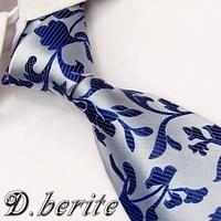 BP30 Silvery Blue Floral 100%Silk Jacquard Classic Woven Man's Tie Necktie