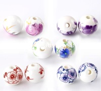 Free Shipping! Ceramics Beads Round Mixed Color Flower Pattern 12mm Dia,30PCs (B22045)