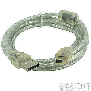Transparent mp3 mp4 data cable download cable usb t type line t usb2.0 data cable(China (Mainland))