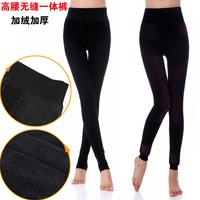 Legging thickening female black high waist one piece pants plus velvet thickening warm pants