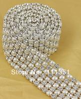 1 Yard Diamond 6 Rows 5mm A Grade Rhinestone Crystal & Pearl Wedding Cake Banding Trim Cake Ribbon Decoration