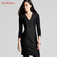 Free Shipping ! colorant match V-neck  three quarter sleeve one-piece women's dress plus size