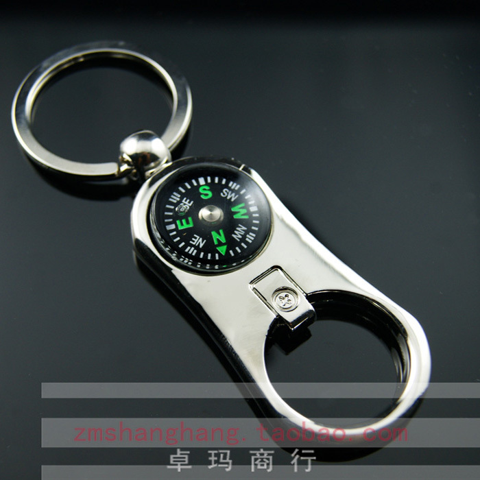 free shipping 10pcs Compass bottle opener compass gift circle printing multifunctional compass keychain compass(China (Mainland))
