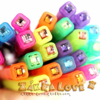 4229 - fresh shine diamond dot fruit aroma double slider neon pen marker pen crayons
