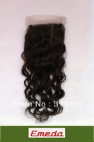 Queen Products closures virgin brazilian wavy 4x4 swiss lace closure bleached knots Hot sales Free Shipping