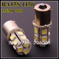 Free shipping + 10pcs/lot + Car Light BA15S 1156  13 5050 SMD LED brake turn park lighting Strobe Function white color