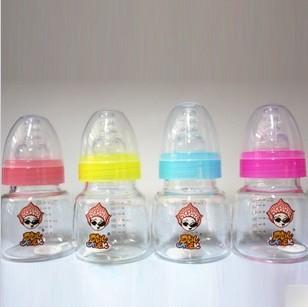Retail Free shipping Baby Mini Glass Milk Juicy Bottle 60ml belt straw handle caliber Newborn feeding bottle baby care product