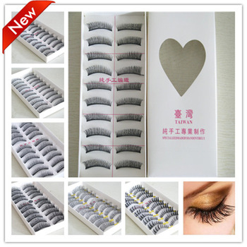 FALSE EYELASHES EYE MAKE UP BLACK THICK LONG NATURAL SOFT HAND MADE