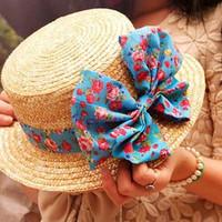 Summer strawhat rustic big bow cadet cap female straw sun-shading flat brim hat