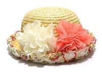 Sweet lace broken flower circle beach dome straw hat ccia roll up hem sunbonnet female