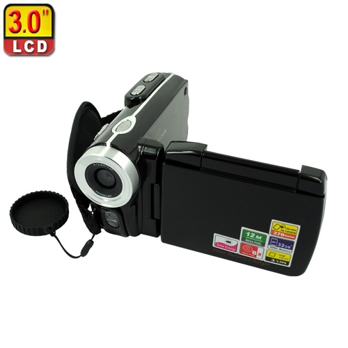 "3.0"" TFT 12MP Digital Camcorder with Solar Panel - Black DVT90(China (Mainland))"