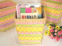 Free shipping Rattan networking & storage basket box miscellaneously garbage bucket wicker  basket for toys