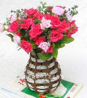 Free shipping High-quatity modern fashion rattan iron wall vase flower pots planters basket artificial flower