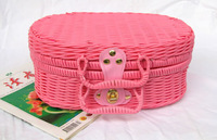 Free shipping Rustic rattan crafts networking & storage baskets travel cosmetics bag finishing box picnic basket
