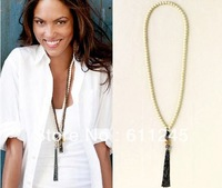 Min order is usd15.0(mix order) Free Shipping Fashion New Vintage Shamballa Revival Tassel Chain Necklace Ivory Beaded Necklace