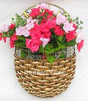 Free shipping modern fashion rattan iron wall vase bronze networking & storage basket artificial flower