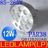 Free shipping Wholesale Par38 12W Par38 LED Lamp Bulb E27 Spot Light Cool/ Warm White 85-265V