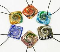 6pcs Wholesale mix Vintage  Europen Fashion Baroque Square Shape Silver Foil Glass Pendant Necklace Fit Jewelry BS239