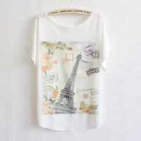2013 spring new Korean version of the Eiffel Tower in Paris fashion loose bat shirt short-sleeved T-shirt wholesale 6132 ladies