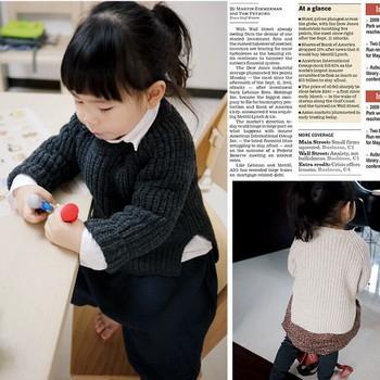 K400 - low-high ingot needle unisex thermal children wool sweater outerwear