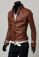 Men's power style jacket Korean fashion Autumn winter leather short jacket motorcycle clothing casual zipper Leather clothing