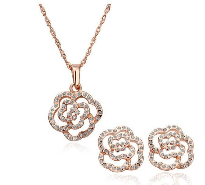 18K Gold Plated Sets Health Jewelry Nickel Free K Golden Plating Platinum Rhinestone Austrian Crystal SWA Element(China (Mainland))
