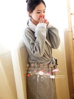Elegant grey elegant polar fleece fabric long-sleeve robe bathrobes soft and comfortable
