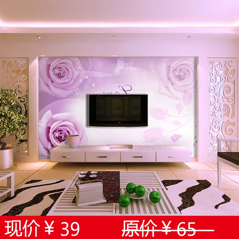 Tv background wallpaper mural qiangbu sofa modern brief fashion rose(China (Mainland))