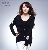 Free shopping spring women's skull air conditioning cardigan thin sweater cardigan cape short