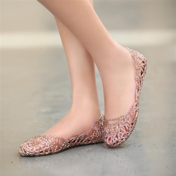 New arrival 2013 sandals fashion shoes flat hole cutout crystal shoes flat heel casual shoes women's