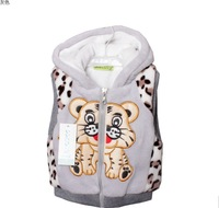 1 Girls boy's faux fur Hooded hoodies vest Autumn / Winter Tiger pattern coat Children kids Sweet outerwear jacket Warm clothes
